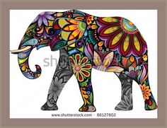 The cheerful elephant. The silhouette of the elephant collected from various elements of a flower ornament. stock image