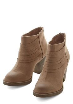 Life is Strut a Dream Bootie in Sand. In all your fashionable imaginings, you never dreamed youd find a pair as lovely as these taupe booties from BC Footwear! #gold #prom #modcloth