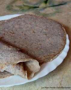 piadina integrale senza glutine e lattosio, con farina di quinoa, grano saraceno e ceci.