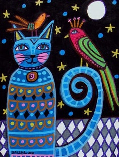 Cat Folk Art Print Poster of Painting by HeatherGallerArt on Etsy, $24.00