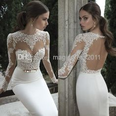 Cheap Wedding Gowns - Discount Stunning Berta Mermaid Lace Wedding Dresses Sheer Backless Online with $126.9/Piece | DHgate