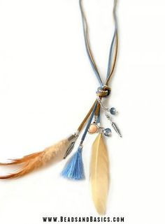 Bohemian Handmade Necklace with Suede Tassels Feathers and Charms - DIY Video Materials from Feather Jewelry, Feather Necklaces, Cool Necklaces, Beaded Jewelry, Dainty Diamond Necklace, Cameo Necklace, Boho Necklace, Diy Necklace Making, Jewelry Making