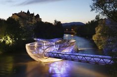 The Murinsel footbridge in Graz (Austria), conceived by the artist Vito Acconci on the river Mur.