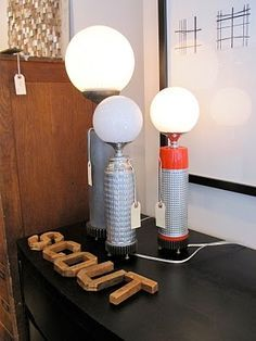 vintage re-purposed thermos as a light modern light. #upcycled #junkovers