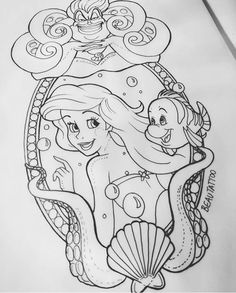Oddles of fish for background - Disney Zeichnungen Disney Sketches, Disney Drawings, Art Sketches, Tattoo Drawings, Body Art Tattoos, Art Drawings, Disney Kunst, Disney Art, Disney Tattoos