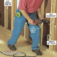 ❧ Drill holes in the framing.  Bore 3/4-in. holes through the framing members about 8 in. above the boxes. Center the bit on the stud, brace th...