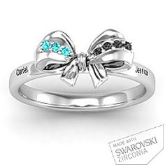 Fancy Stone Set Bow Promise Ring