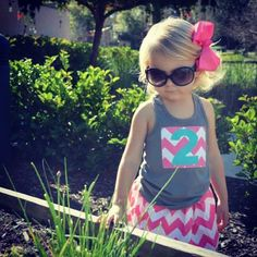 Girls Birthday outfit, 2nd birthday shirt, Riley Blake chevron skirt, girls Birthday shirt and skirt on Etsy, $29.95
