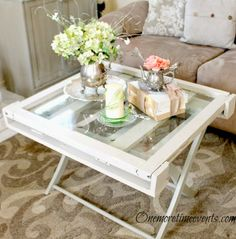 repurposing vintage window and luggage rack for coffee table. at One More Time Events.com