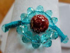 Beaded Macrame Bracelet - Blue Daisy. $20.00, via Etsy.