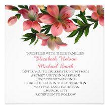 Spring Pink Flowers Wedding Invite