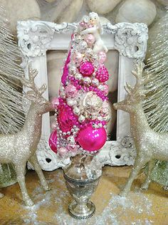 Pink Christmas, White Christmas,Vintage Ornaments Bottle Brush Tree Silverplated Creamer Silver Tea Set | eBay Pink Christmas, Vintage Christmas, Silver Tea Set, Bottle Brush Trees, Vintage Ornaments, Silver Rhinestone, Ebay, Ideas, Thoughts
