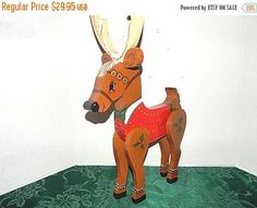 Reindeer Three Dimensional 3D Hand Crafted Wooden Tole Art