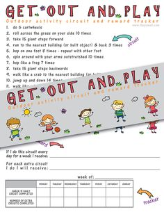 Get Out and Play Activity Circuit and Reward Tracker - encourage your kids to spend more time outside with this fun circuit. You can establish rewards and track their activity too! Fitness Activities, Hands On Activities, Learning Activities, Water Activities, Reward System For Kids, Activities For Autistic Children, My Favorite Year, Printable Workouts, Exercise For Kids