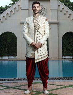 Shop Cream hue wedding function raw silk indo western online from India. Mens Sherwani, Sherwani Groom, Wedding Sherwani, Punjabi Wedding, Wedding Outfits For Groom, Indian Wedding Outfits, Wedding Suits, Wedding Couples, Wedding Ideas