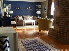 "Navy Wall is painted in Valspar Signature Collection ""Mystified"" 4011-8"