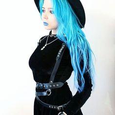 #choker #necklace #madelephant #madelephantshop #goth #gothic #gothgoth #moon #bluehair #leatherharness #harness #lingerie #bondage #bodyharness#sashuneye #fashion #girl #gothfashion #designer #fetish #blackismyhappycolor #altmodel #bluelips #alternative #cuffs #hat #witch #black