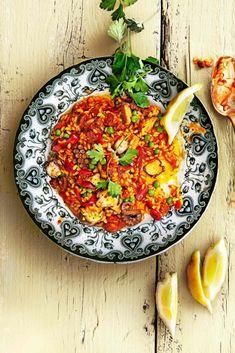 paprikapaella - delicious Paella, Harissa, Great Recipes, Favorite Recipes, Broccoli Pasta, Chorizo, Easy Cooking, Vinaigrette, Risotto