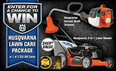 Check out this Husqvarna Lawn Care Package Giveaway from Northern Tool!