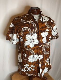 Royal Hawaiian VTG L Barkcloth Tribal Floral Shirt Loop Collar Metal Buttons Man Clothes, Metal Buttons, Hawaiian, Men Casual, Floral, Shirt, Mens Tops, Fashion, Guy Outfits
