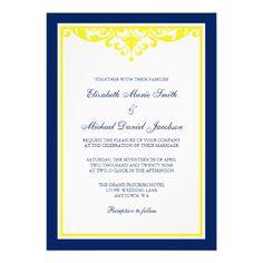 Navy Blue and Yellow Flourish Wedding Invites