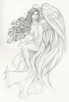 Olivia by Anyae Angel Coloring Pages, Colouring Pages, Coloring Books, Elfen Tattoo, Art Sketches, Art Drawings, Angel Sketch, Angel Artwork, Angel Tattoo Designs