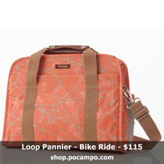 Pannier bike bag that doubles as laptop bag. Made with vegan, weatherproof fabric and has reflective accents and bottle pockets. Comes with a detachable, adjustable strap to wear as a crossbody bag. Shown in orange coral bike ride fabric.