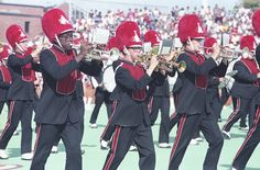 The Big Red Marching Machine is seen on the field at Hancock Stadium in September 1985. (Photo courtesy of the Dr. Jo Ann Rayfield Archives)