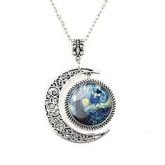 Moon Pendant Tardis Doctor Who Starry Night Necklace Van Gogh Jewelry Personalized Necklaces Gift Disc: Affiliate Link