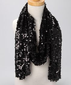 Black Sequin Scarf  #zulily #fall