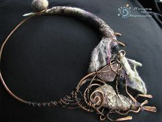 Wool, copper and amethyst necklace