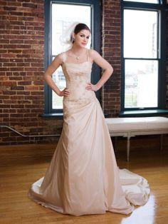 Taffeta One-Shoulder Neckline Directionally Ruched Bodice A-line Wedding Dress