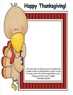 Turkey Handprint Poem or Placemat