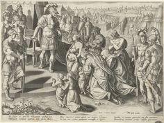 Theodoor Galle   Veturia aan de voeten van Coriolanus, Theodoor Galle, Johannes Boghe, Philips Galle, 1593 - 1597   Gaius Marcius Coriolanus staat met een enorme troepenmacht voor de muren van Rome. Zijn moeder Veturia en zijn vrouw Virgilia (Volumnia) en zijn kinderen smeken hem op hun knieën Rome niet aan te vallen. Coriolanus wordt door hun smeekbedes overtuigd. De prent heeft een Latijns onderschrift en maakt deel uit van een zesdelige serie over beroemde Romeinse vrouwen.
