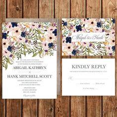 Rustic Wedding Invitation, Blush, Navy, Floral, Spring Wedding