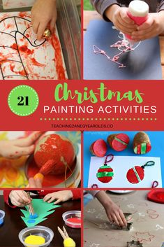 There are so many awesome preschool Christmas painting activities that can be done in the classroom or at home. Here are 21 favorites to try! #Christmas #holidays #art #crafts #painting #preschool #toddlers #teaching2and3yearolds Christmas Activities For Toddlers, Preschool Christmas, Toddler Christmas, Crafts For Kids, Art Crafts, Preschool Activities, Preschool Classroom, Educational Activities, Cardboard Christmas Tree