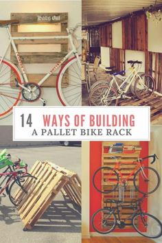 Diy Bike Racks 14 Ways of Building Your Own Pallet Bike Rack bull 1001 Pallets Bike storage can be challenging. Check out these 14 Ways of Reusing Old Wooden Pallets as Bike Racks to solve your bike-storage woes! 1001 Pallets, Recycled Pallets, Wooden Pallets, Pallet Benches, Pallet Couch, Pallet Tables, Pallet Bar, Outdoor Pallet, Recycled Crafts