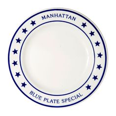 Manhattan Blue Plate Special Dinner Plate   N.Yのお土産に購入されることも多い、こちらのマンハッタン ブループレートは、N.Yの雰囲気が感じられる人気シリーズです☆シンプルなデザインがどんな料理とも合い、お洒落なブランチタイムにも最適です♪