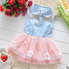 Free shipping 2015 Summer new baby dress Korean baby girl's flower dress kids cowboy Dress A145