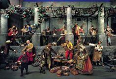 Neapolitanische Krippe aus der Mitte oder 2. Hälfte 18. Jh. Straße in Neapel mit Marktszenen, Teilansicht Fischverkäufer (© Bayerisches Nationalmuseum München)