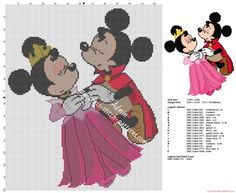 Disney Mickey y Minnie como La bella durmiente patron punto de cruz