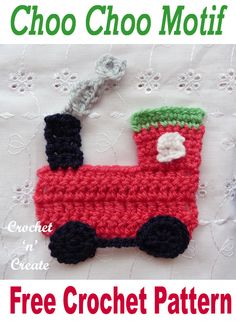 Crochet Choo Choo Motif Free crochet pattern for cute choo choo train appliqué, adorn baby clothes and blankets, find the pattern on Crochet Applique Patterns Free, Crochet Motif, Amigurumi Patterns, Crochet Flowers, Crochet Toys, Free Crochet, Knit Crochet, Crochet Appliques, Crochet For Boys