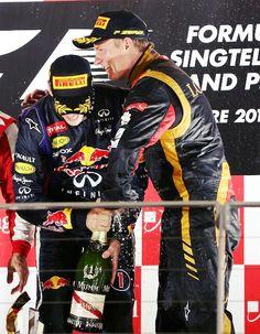 Sebastion and Kimi: 1st. & 3rd. @ the 2013 Formula 1 Singtel Singapore Grand Prix