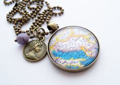 Map of Yugoslavia  Map Pendant Necklace  Custom by OxfordBright