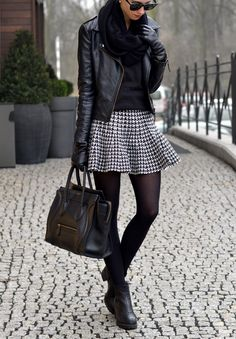 Black leather jacket handbag boots scarf, skirt. Street fall winter women fashion outfit clothing style apparel @roressclothes closet ideas
