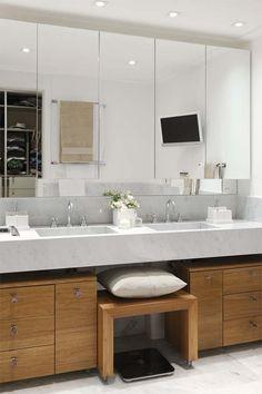 Apartment Brooklin is a two level contemporary home featuring a cosmopolitan atmosphere, designed by AR Arquitetura & Design, located in Sao Paulo, Brazil. Narrow Bathroom, Bathroom Sink Vanity, Bathroom Mirrors, Bathroom Renovations, Home Renovation, Apartment Showcase, Indoor Outdoor Bathroom, Cabinet Design, Bathroom Furniture