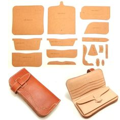 Leather Art, Sewing Leather, Leather Wallet Pattern, Diy Wallet, Leather Working, Leather Sandals, Handmade, Bags, Design