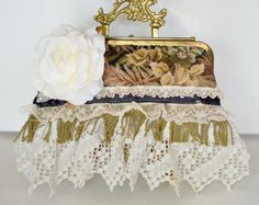 Shabby Victorian chic Tapestry Clutch Boho Bag by BlackRainCouture