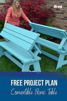 Folding Picnic Table Plans, Diy Picnic Table, Diy Table, Outdoor Bench Table, Wooden Bench Table, Wooden Benches, Picnic Ideas, Garden Furniture, Outdoor Furniture