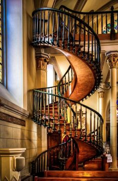 """The Miraculous Staircase by Len Saltiel // Loretto Chapel, Santa Fe  """"Completed in 1878, there was no way to access the choir loft twenty-two feet above. Carpenters were called in to address the challenge but the only solution seemed to be a ladder given the small size of the chapel. The Sisters of the Chapel prayed to St. Joseph, the patron saint of carpenters.  As legend would have it, a man appeared at the Chapel with a donkey and a toolbox looking for work. He built this staircase."""
